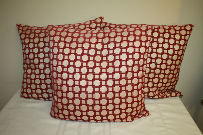 Decorative Unbranded Beige Burgundy Geometric Square Accent Pillows (3)