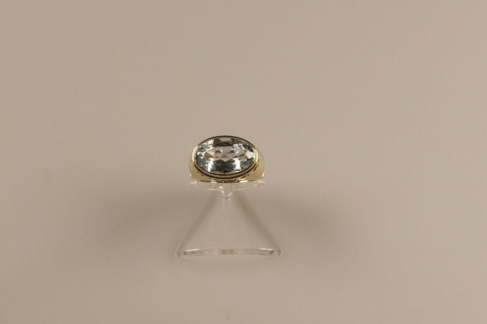 Art Deco Aquamarin Ring, in 585 Gelb Gold