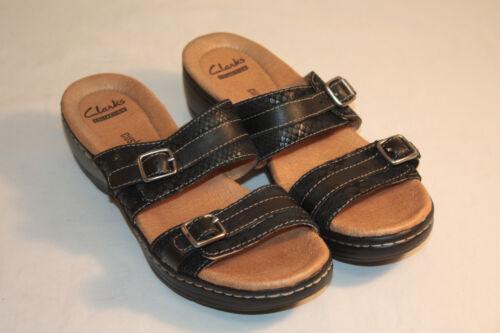 ClarksWomens Ladies Black Double Strap Slides Sandals Shoes Size 7M
