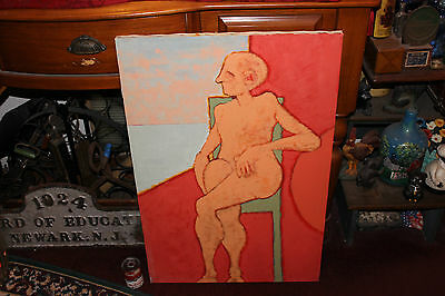 Strange Abstract Oil Painting-Nude Man Woman W/Crossed Hairy Legs-Vibrant - Nude Hairy Women