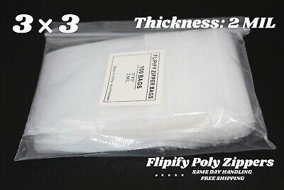 3x3 Clear 2 Mil Zip Lock Bags Poly Plastic Reclosable Mini Small Baggies