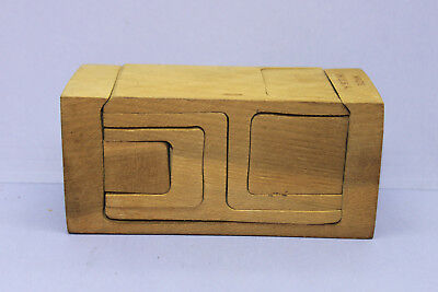 Vintage 3D Block Wood Wooden Construction Jigsaw Puzzle Toy Brain Teaser   Usa