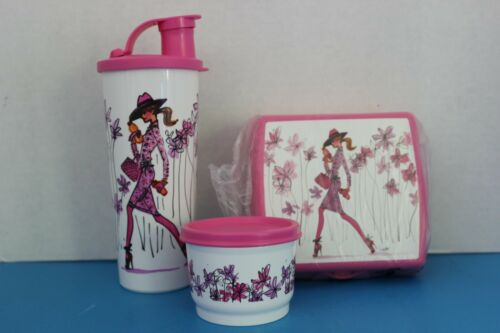 Tupperware GIRL On The GO Lunch Set~SANDWICH Keeper~SNACK Cup~TUMBLER w/Flip Top
