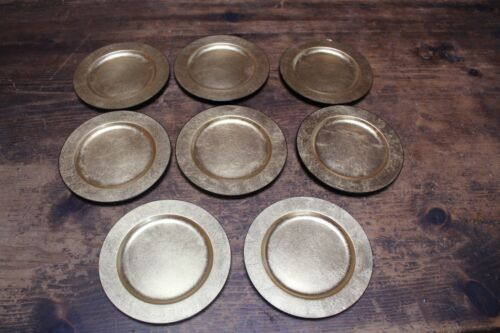 """(8) Vintage Nancy Calhoun Designs Gold Lacquer Ware 6 1/2"""" Dessert Plates Japan"""