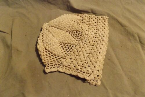 Vintage Antique Hand Crocheted Lace Cotton? Off White Infant or Baby Bonnet