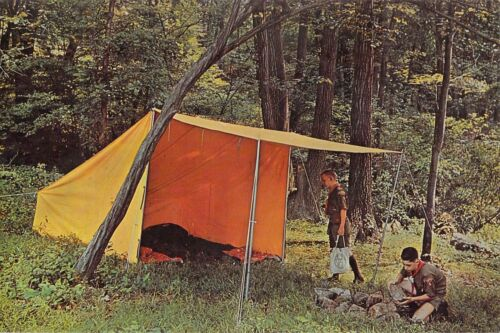 BOY SCOUTS OF AMERICA - BAKER TENT #1418  6x9 1960s postcard AD BACK