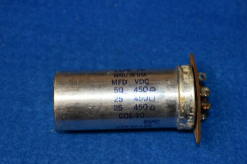 Mallory 50/25/25 uF 450 Vdc Twist Lock Amplifier Filter Electrolytic Capacitor