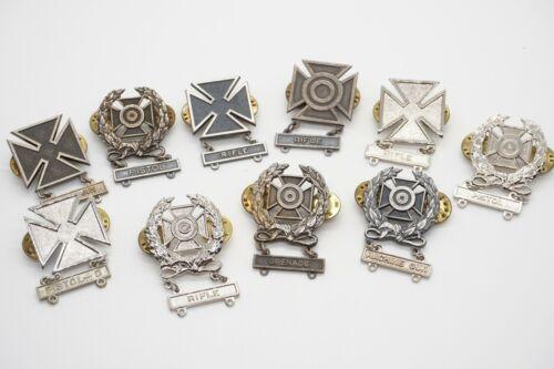 Korean - Vietnam War Army Marksman, Sharpshooter & Expert Badges Lot Of 10