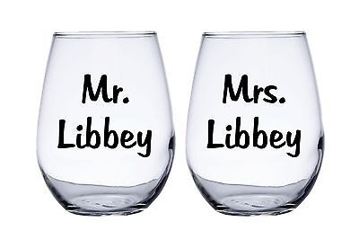 Mr. and Mrs. Personalized Wedding Bride and Groom Stemless Wine Glasses](Bride And Groom Glasses)