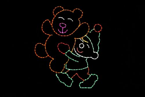 Elf with Big Bear LED metal wire frame outdoor Christmas holiday display