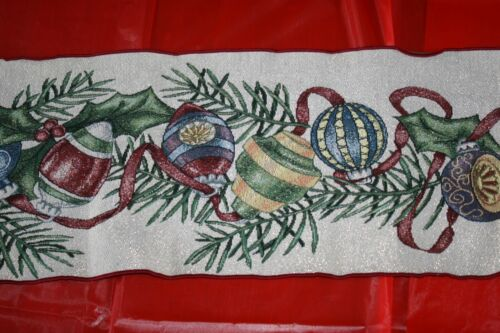 """Christmas Ornaments  lots of colors sparkles  TABLE RUNNER   13"""" X 70""""  FANCY!"""