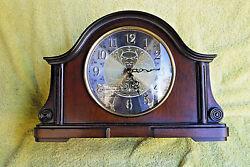 NIB! BULOVA B1975 CHADBOURNE OLD WORLD MANTLE QUARTZ CLOCK! WALNUT, BRASS FINISH
