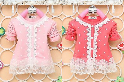 Baby Girls Polka Dots Long Sleeve Lace Outwear Cardigan Top (9 Months-3 Years) ()