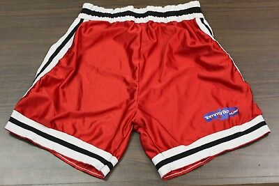 """RARE Tommy Boy Records NYC 80s/90s Rap Hip Hop Red Basketball Shorts - 30"""" Waist"""