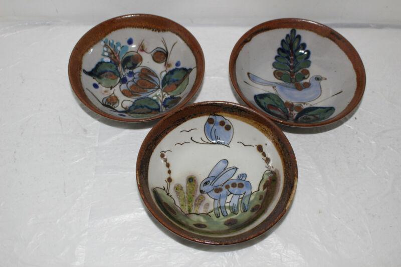 3 VINTAGE KEN EDWARDS MEXICO EL PALOMAR POTTERY BOWLS-BUTTERFLY, BIRD, RABBIT