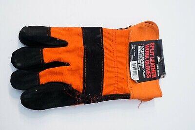 Split Leather Work Gloves Safety Orange Construction Rubberized Cuff. Large