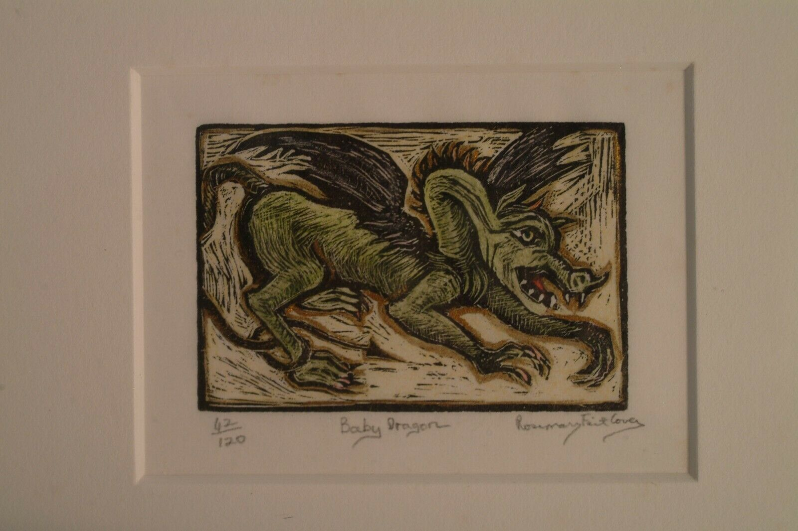 Rare, Early Work Of Rosemary Feit Covey, Wood Engraving, Baby Dragon Framed - $125.00