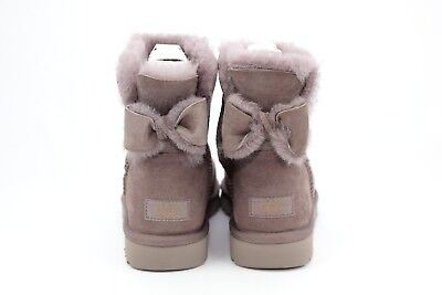 UGG NAVEAH MINI BOW STORMY GREY COLOR SUEDE SHEEPSKIN BOOTS SIZE 9 US - Gray Bow Uggs