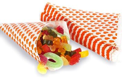 Orange Papiertüten (100 Papiertüten Spitztüten Herzen orange 19cm Dreieckstüten CandyBar Herztüten)