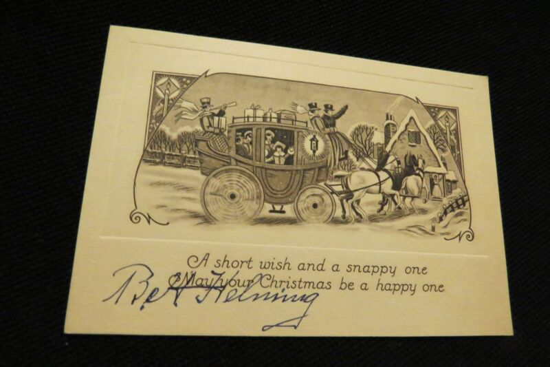 Vintage Art Deco Horse Drawn Coach Christmas Card 1920S Wonderful