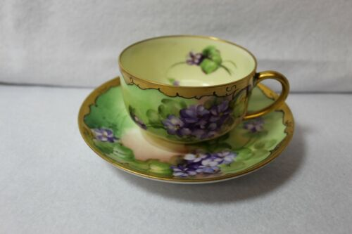 Antique PICKARD CHINA Hand Painted Cup & Saucer Artist Signed D & Co France L@@K