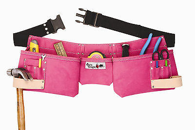9 Pocket Suede Leather Womens Pink Tool Bag Pouch Belt