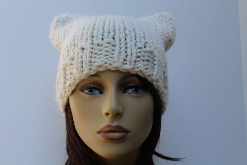 Chunky Hand Knit Unisex Ivory Fisherman Off White Cream Handmade Pussy Cat Hat