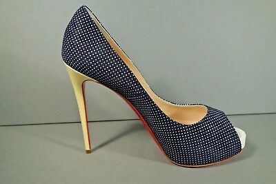 LOUBOUTIN 38/7.5 NEW VERY PRIVE Navy Polka Dot Platform Pumps Yellow Heels Shoes