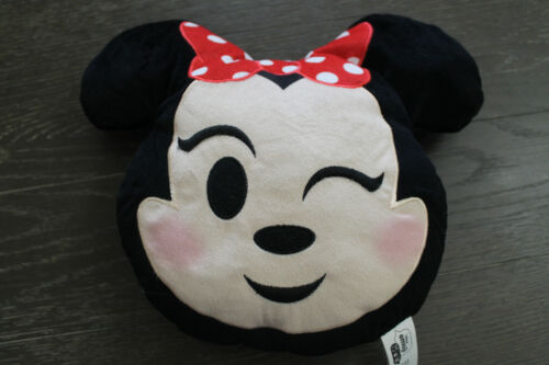 Disney Emoji Winking Minnie Mouse Head Stuffed Plush Pillow Toy