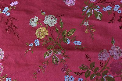 """Lovely French Antique Rose Silk Lampas Brocade c1860~15""""L  X  21""""W~Dolls,Pillows"""