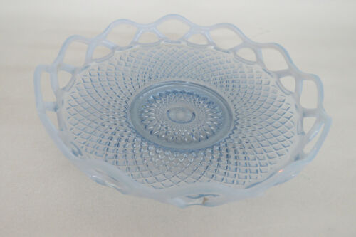 Imperial Diamond Point Open Lace Style Opalescent Blue Glass Dish Bowl 964B