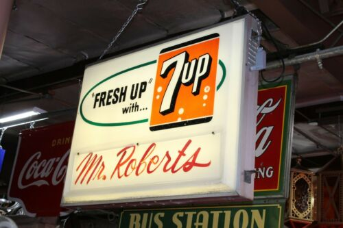 1940-1950s Original 7-Up Light Up Grocery Store American Plastic Double Sided