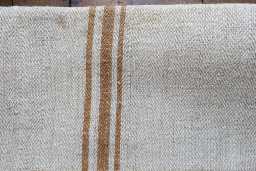Antique European Hemp Grain Sack Gorgeous Rare Caramel Tan Brown Stripes