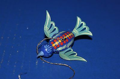 Cute Vintage Painted Wooden Bird Christmas Ornament