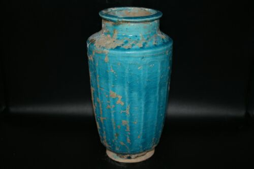 Authentic Ancient Islamic Pottery Turoqiuse Glazed Ceramic Jar C. 13th - 14th AD