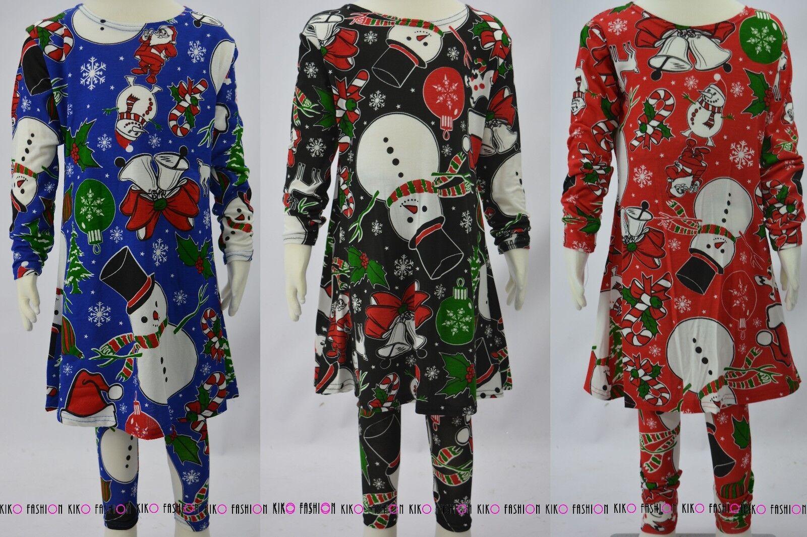 Kinder Mädchen Schneemann Festliche Weihnachten Anzug Swing Kleid Leggings Set