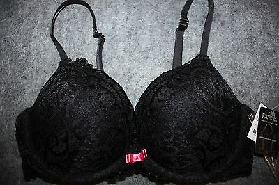 117 Fredericks Of Hollywood Lace Heart Throb Push Up Bra Black