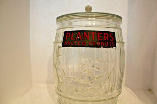 Original 1935 Planters Peanut Barrel Jar With Lid/Label Made In USA