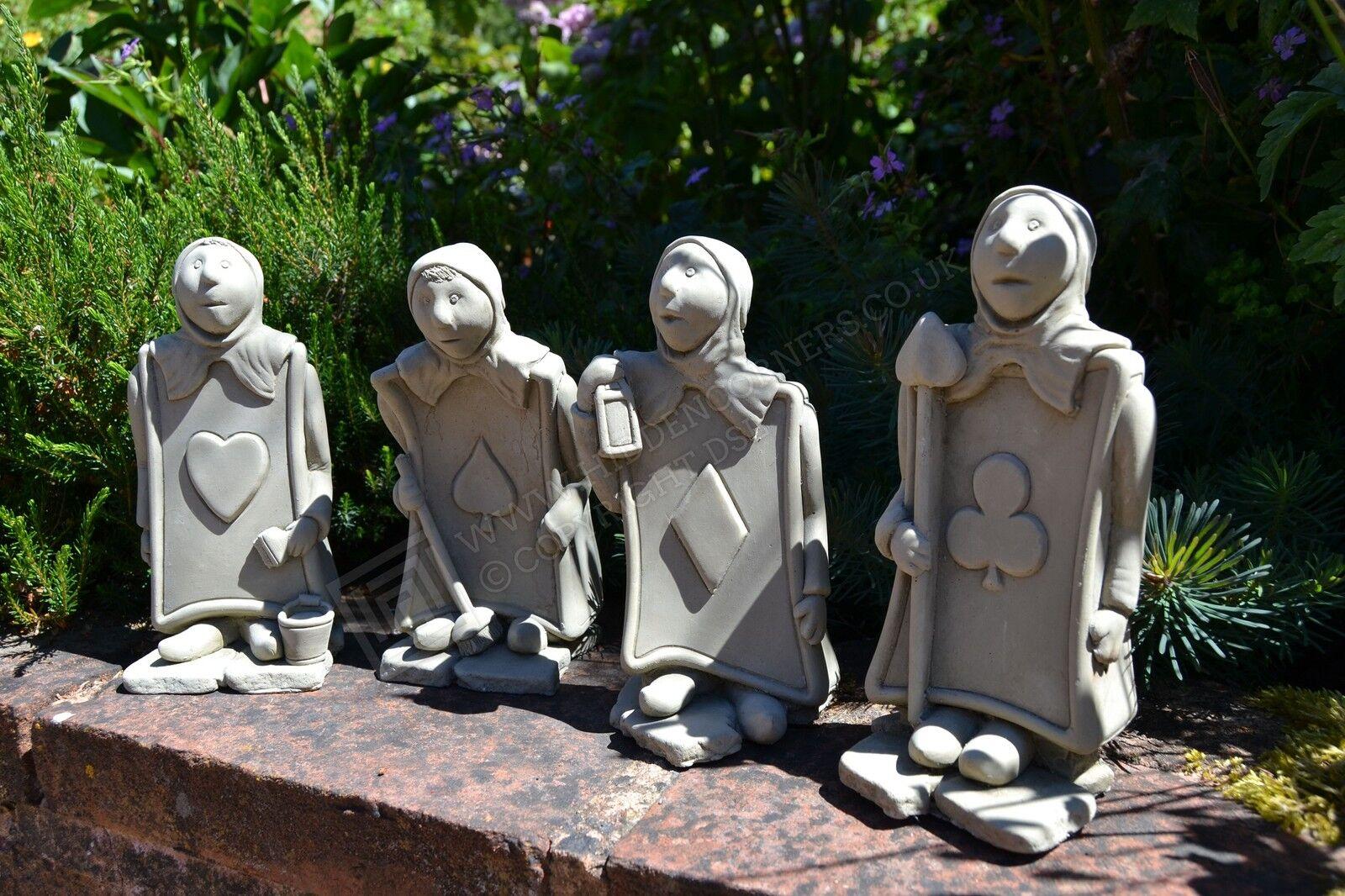 Heart Trump Card Alice In Wonderland Garden Ornament Sculpture Stone Home Picclick Uk