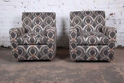 Contemporary Upholstered Swivel Lounge Chairs by Craftmaster, -