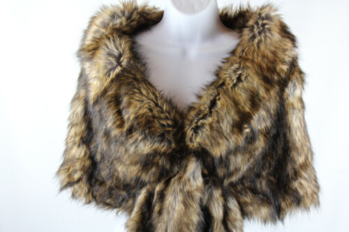 New Faux Fur Wrap Shawl Bridal Tan