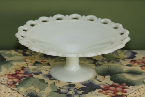 Vintage Milk Glass Old Colony Lace Edge Footed Dish Compote