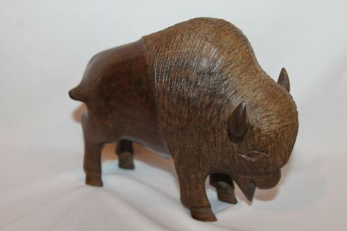 """Hand Carved Wood Buffalo Figurine Carving 7"""" WIDE X 6"""" TALL"""