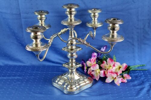 Vintage Goldfeder Large Baroque Art Nouveau Silver Plated 5 Light Candelabra