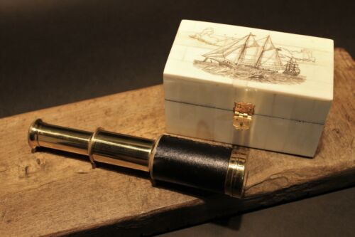 Vintage Antique Style Schooner Sail Ship Bone & Wood Scrimshaw Box w Telescope