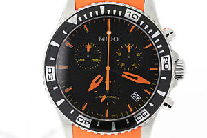 NWT Men's Mido Ocean Star Captain M0114171705190 Black Dial Orange Strap Watch