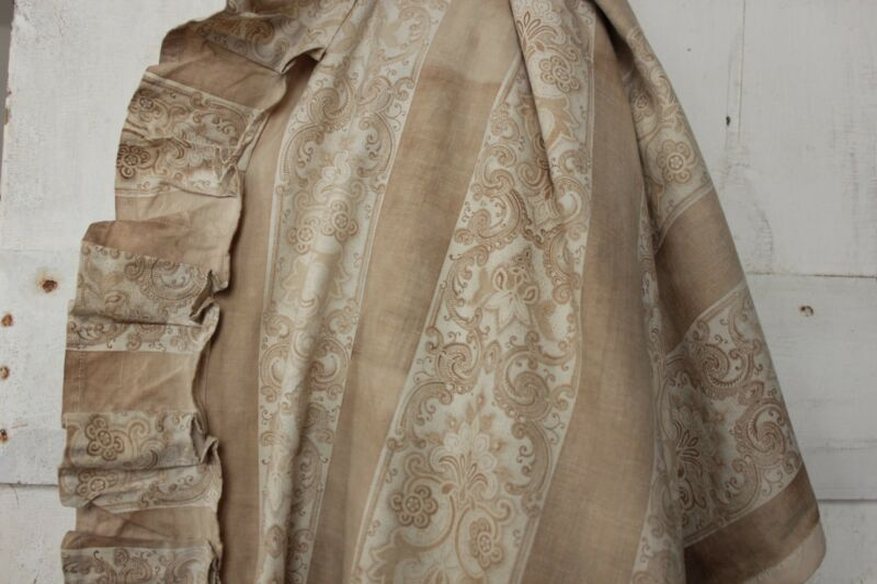 Antique Curtain French Fabric 19th Century Floral & Stripe neutral tones c1870