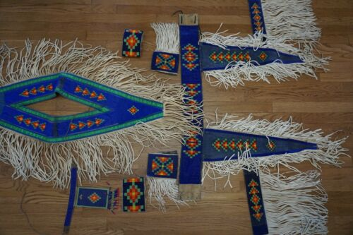 VINTAGE BLACKFOOT NATIVE AMERICAN BEADED POWWOW DANCE REGALIA 9 PIECES CANADIAN