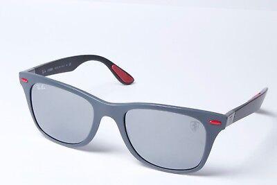 b1c1786f7c Ray-Ban Ferrari RB4195M F605 6G Grey Black Grey Mirror Sunglasses 52mm Non  Polar