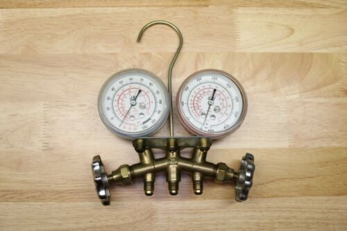 JB INDUSTRIES BRASS MANIFOLD GAUGES Vacuum PSI Made In USA